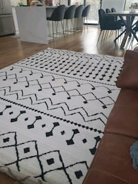 """black charcoal area rug/ midcentury 6'7"""" by 9'6"""""""