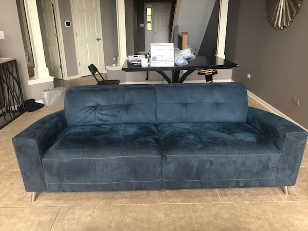 Phenomenal 2 Blue Suede Couches 200 Each Sold Together Or Separate From Macys Furniture Machost Co Dining Chair Design Ideas Machostcouk