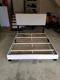 White Leather Queen bed frame