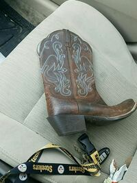 brown and black leather cowboy boots Battlefield, 65619