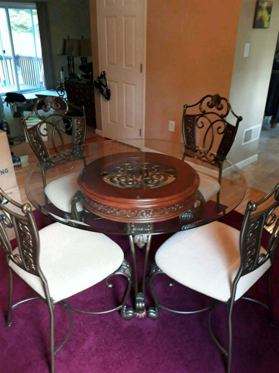 Used Round Glass Top Table With Four Chairs Dining Set For Sale In  Lehighton   Letgo