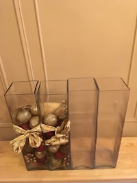 Tall clear glass cube vases