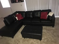 Black leather sectional sofa with ottoman Lutz, 33558