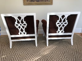 Pair of Stunning Vintage Chinese Chippendale Upholstered Chairs