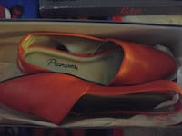 pair of orange Picassos leather flat with box
