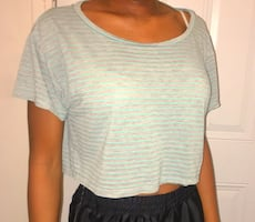 Light Blue and Grey Crop Top