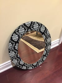 Decorative Black and White with Floral Design, Round/Oval Mirror Vaughan
