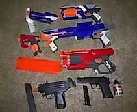 2 bb guns 2 mega nerf guns 3 elite nerf guns