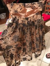 Women's beige and grey floral strapless dress