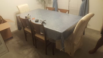 gray wooden dining furniture set