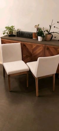Upholstered Solid Wood Dining Chair(Set of 2)