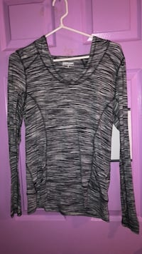 Gray and black scoop neck long sleeve with hood shirt
