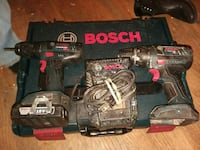 two blue-and-black Bosch cordless hand drills with cases Rossville, 30741