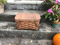 Brown wooden picnic basket with plates & utensils. Albany, 12203