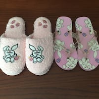Pair of pink-and-white flipflops and pair of pink house slippers