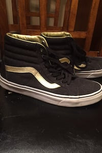 Vans High Tops (Black and Gold)