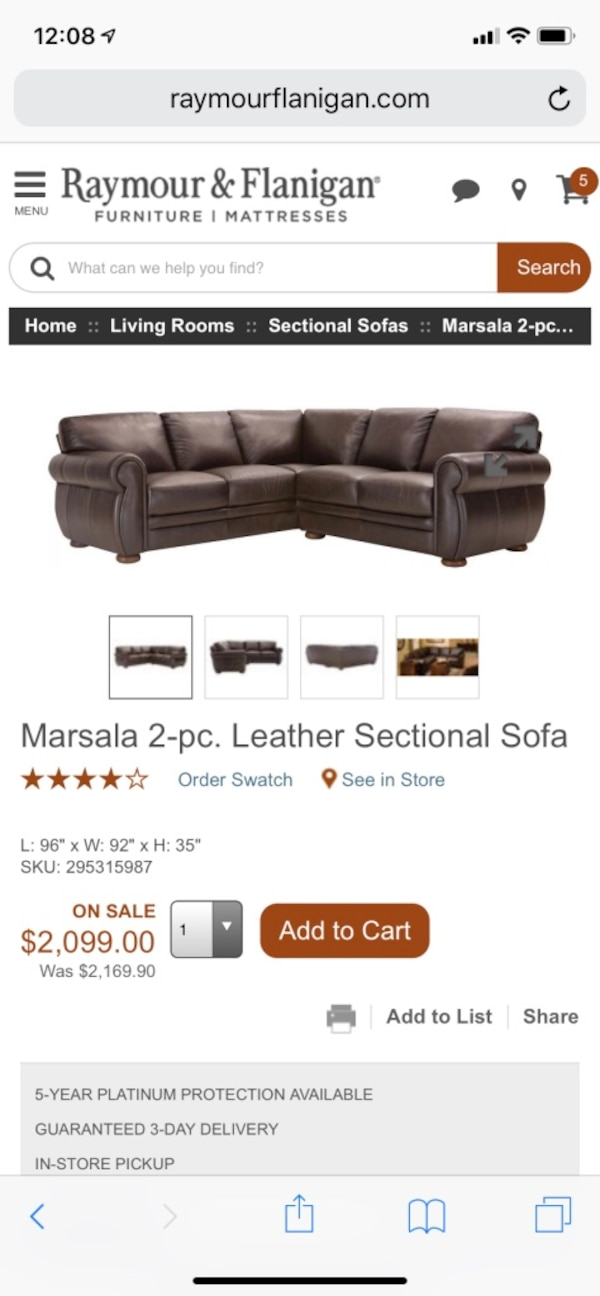 Used Raymour And Flanigan Leather Sectional For Sale In Ronkonkoma
