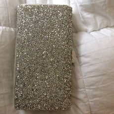 rectangular silver glittered wallet