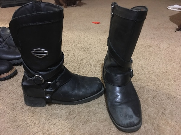 e118b44bdee4 Harley-Davidson Women s Amber Black Leather 9.5-Inch Motorcycle Boots  D85514 size 8.5  60
