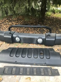 2015 Jeep Wrangler JK OEM front bumper; includes skid plate and valance panel