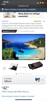 "Excelvan 120"" Portable Projector Screen"
