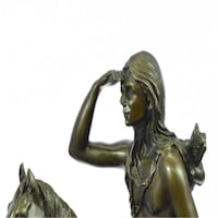 The Scout Bronze Sculpture on Marble Base Statue (14X11 Inches)