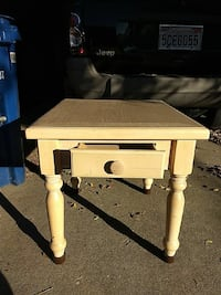 """wooden table cream color 22""""x24"""" 22 1/2"""" high"""
