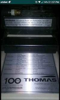 The Thomas 100 PSI 3/4 HP Oil -Less Piston Air Compressor with holes