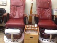two red leather sofa chairs Stamford, 06902