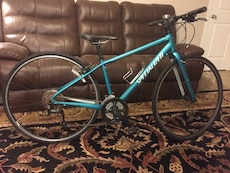 Blue and white specialized bicycle