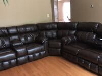 black leather recliner sectional couch Gainesville, 20155