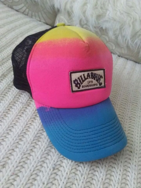 blue, pink, and yellow Billabong tracker hat