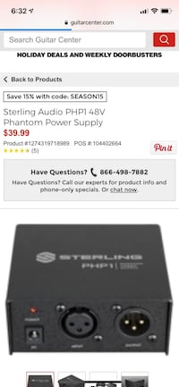 Sterling audio php1 phantom power supply Nashville, 37203