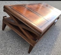 Coffee table real wood leather art 800$ value  Los Angeles, 90027