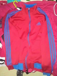 blue and red zippered Adidas jacket