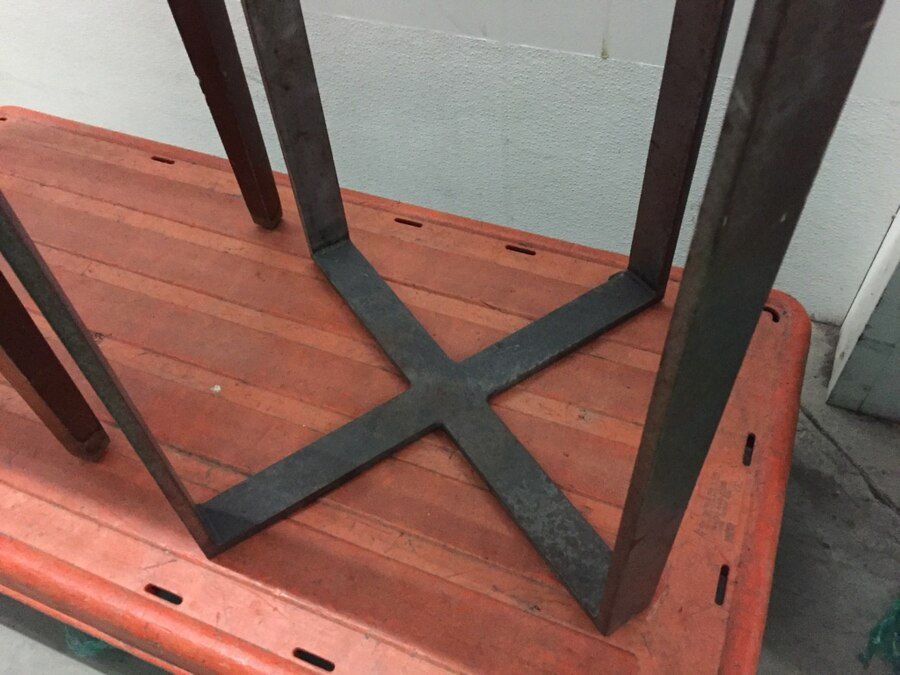 black steel table stand top made of concrete - Bicentennial