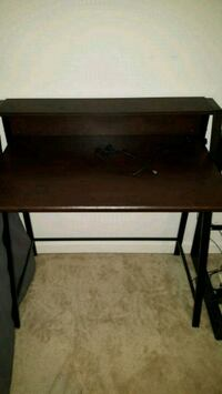 Dark brown computer desk with USB port and cord Laurel