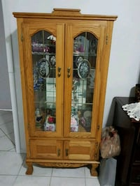 brown wooden framed glass display cabinet Edmonton