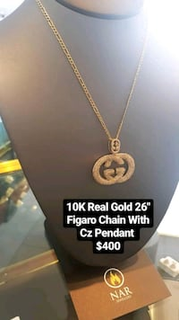 """10k real gold 26"""" Figaro chain with cz pendant  Toronto, M1K 1N8"""