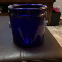 Blue glass wine bucket and 2 small vases Laurel, 20707