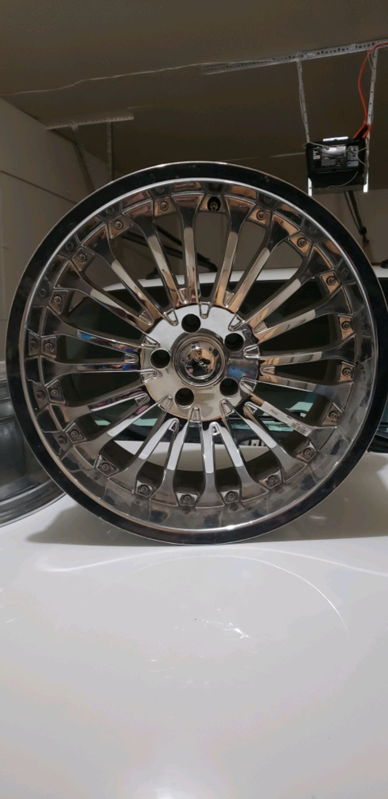 Photo 20 inch menzari rims 5 lug. Got all 4 no tires as pictured.