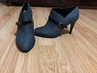 Pair of gray suede chunky heeled booties Mississauga, L5R 3R7