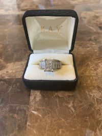 Square diamond encrusted silver-colored engagement ring with box Dearborn Heights, 48127