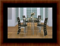 Counter height glass dining table with 4 chairs 25 mi