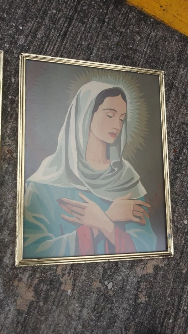 "Vintage Jesus and Mary Paint by Numbers Paintings each is 14"" x 11"" 0c198f23-1c8a-4fa8-95bb-50f4f07857ea"