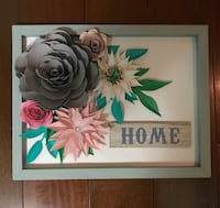 Hand cut Paper flowers in wooden frame.