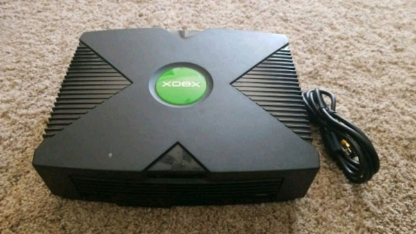 Xbox with AV cable and power cord