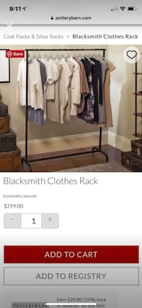 Pottery Barn Blacksmith Clothes Rack (closet organizer, crate and barrel, west elm) garment, moving Bethesda, 20817