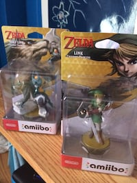 two Amiibo The Legend of Zelda Link and Wolf Link figurine boxes