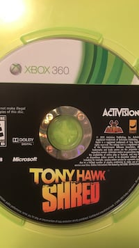 Xbox 360 Tony Hawk Shred game disc
